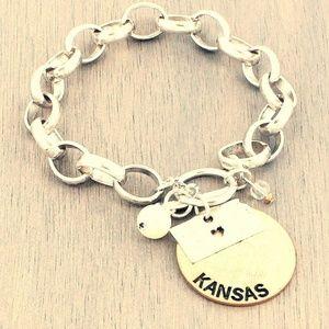 KS charm bracelet Kansas state gold coin